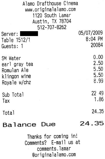 Alamo Star Trek Food Receipt