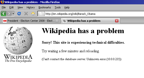 Wikipedia Down on Barack Obama