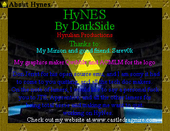 HyNES v0.9.1 About Screen