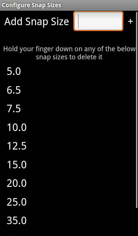 Configure snap sizes