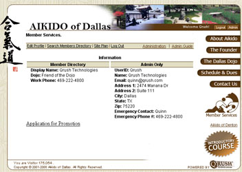 Aikido of Dallas Member Section Screenshot